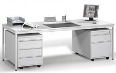 Schreibtisch mit Rollcontainer BASE LINE im Super-Spar-SET