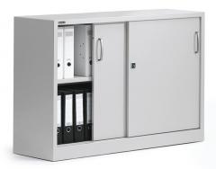 Schiebetürenschrank BASE LINE Lichtgrau RAL 7035 | 850 mm (2 OH)