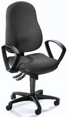 Bürodrehstuhl COMFORT I mit Armlehnen Anthrazit | Polyamid schwarz | feste Armlehnen