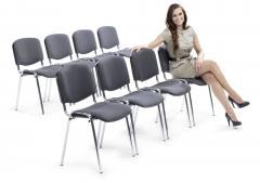 8er Set-Besucherstühle ISO Grau   Verchromt