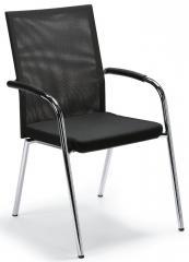 Besucher- und Konferenzstuhl RIVA 4 Schwarz/Schwarz | Stoffsitz mit Netzrücken