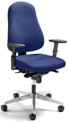 Bürodrehstuhl SINAMO mit Armlehnen Blau | verstellbare Armlehnen | Alusilber