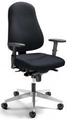 Bürodrehstuhl SINAMO mit Armlehnen Schwarz | verstellbare Armlehnen | Alusilber