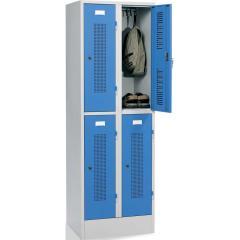 Doppelstöckiger Spind SYSTEM SP1 mit Sockel Lichtblau RAL 5012   300   4   Zylinderschloss