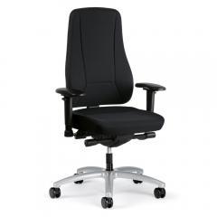 Bürodrehstuhl UNIQUE ohne Armlehnen Schwarz | hohe Rückenlehne | Alusilber