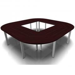 Konferenztisch DELTA-ORBIS Wenge   3200   Quadratisch, 12 Sitzplätze   Alusilber RAL 9006
