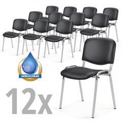 Besucherstühle ISO 12 Stühle im SET Schwarz | Verchromt