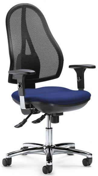 Bürodrehstuhl COMFORT NET DELUXE inkl. Armlehnen Schwarz/Blau