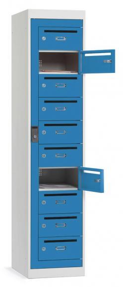 Postverteiler-Stahlschrank mit 10 Türen Lichtblau RAL 5012