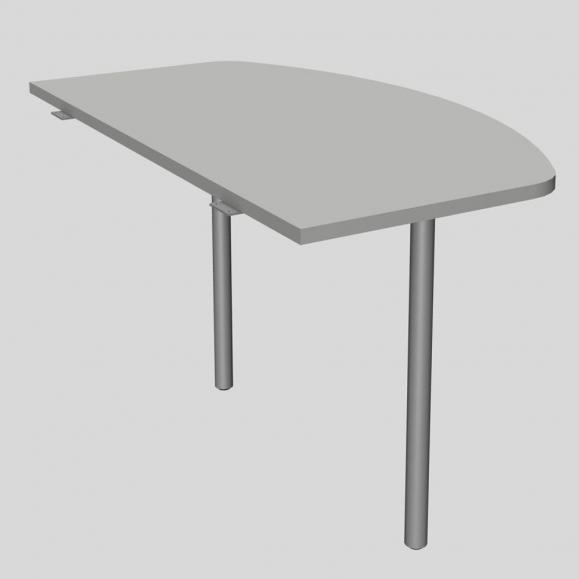 Anbautisch MODUL Lichtgrau | 1200 | Anbautisch inkl. 2 Stützfüße | Alusilber RAL 9006