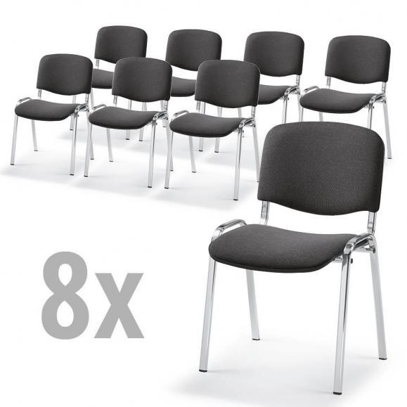 8 Besucherstühle ISO - Stoff Basic, 3 Gestellfarben